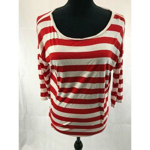 LOFT Pullover Top Red White 3/4 Sleeve Boat Neck M